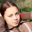 Portrait of the girl-teenager in the solar afternoon — Stock Photo