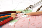 Topographic map of district with a measuring instrument — Stock Photo