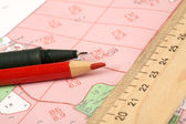 Topographic map of district with ruler — Stock Photo