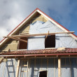 Foto Stock: Under construction wooden house