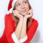 Girl in Santa red hat — Stock Photo #4374900