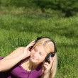 Girl listen to music — Stock Photo