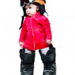 Baby in clothes snowboarder in goggles — Stock Photo