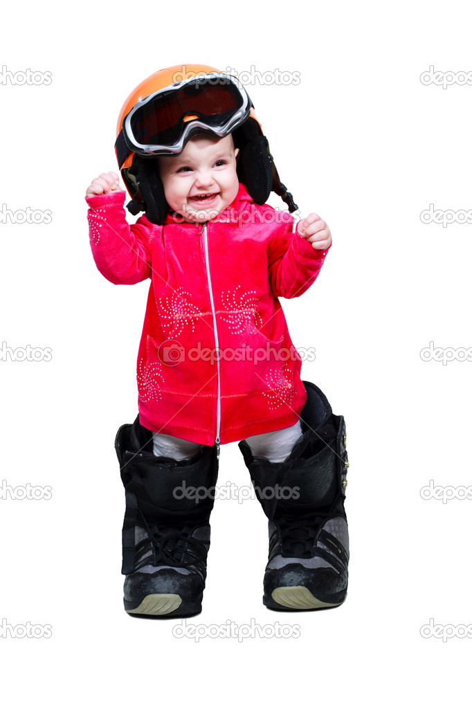 Baby in clothes snowboarder in goggles and boots shows emotion — Stock Photo #4681711