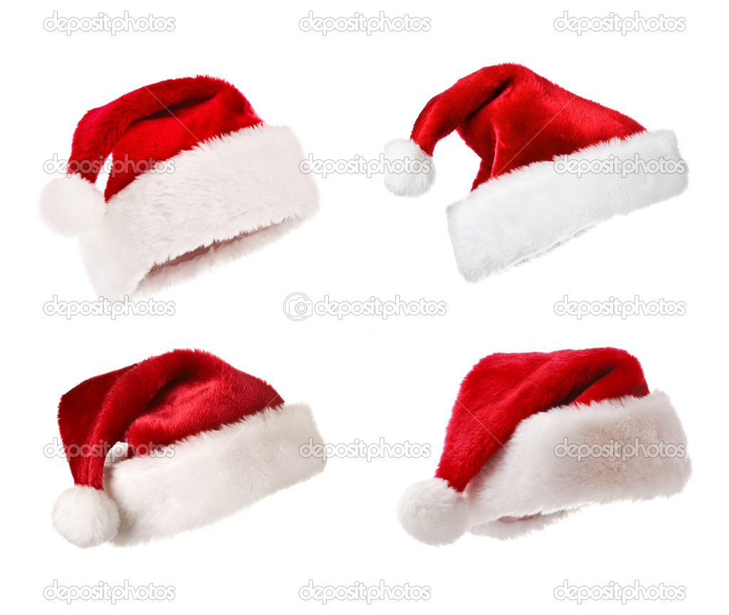 Set Santa Claus red hats isolated on white  Stock Photo #4520947