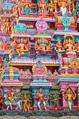 Sculptures on Hindu temple gopura (tower) — Stock Photo
