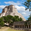 Mayan pyramid (Pyramid of the Magician, Adivino) in Uxmal, Mexic — Stock Photo #5219588