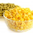 Canned corn and pea — Stock Photo #4459314
