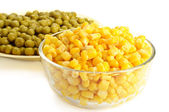 Canned corn and pea — Stock Photo