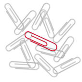 Paper Clips on the white — Stock Photo