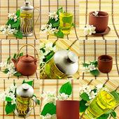 Collage di tè jasmin — Foto Stock