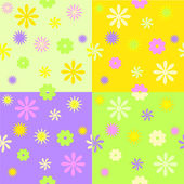 Set from four spring seamless patterns — Stock Vector