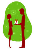 Young man congratulating his girl — Stockvector