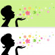 Royalty-Free Stock Vector Image: Female silhouette with flowers