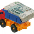 Russian money in the truck — Foto Stock