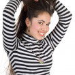 Smiling pretty girl in striped blouse. Isolated — Stock Photo