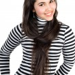 Playful pretty girl in striped blouse. Isolated — Stock Photo