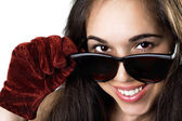 Portrait of the smiling young woman in sunglasses — Stock Photo