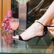Black spike heel - Stockfoto