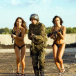 Soldier and two women — Stock Photo #5014960