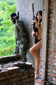 Soldier and naked woman — Stock Photo