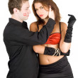 Handsome man touching pretty woman — Stock Photo