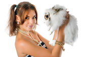 Smiling young woman with little rabbit — Stock Photo
