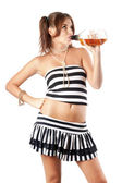 Sexy young woman with a bottle — Stock Photo