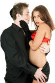 Portrait of the sexy playful young couple — Stock Photo