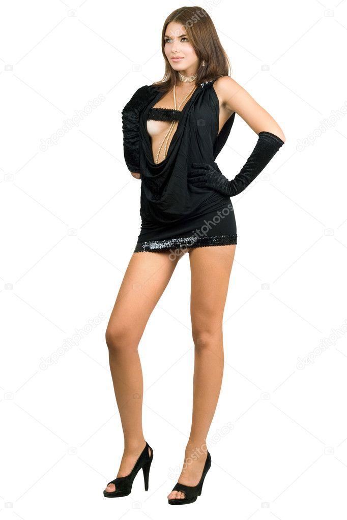 длинноногая в платье
