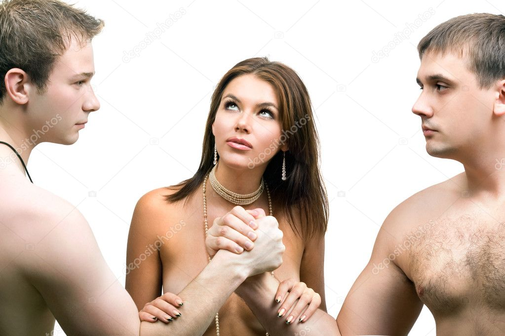 two men and woman cumkiss
