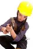 LIttle master girl with hammer — Stock Photo