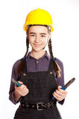 LIttle master girl with pliers — Stock Photo