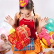 Birthday girl and gifts — ストック写真