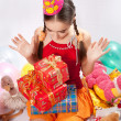 Birthday girl and gifts — Stock Photo #5003758