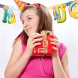 Birthday girl and gifts — Stockfoto #5003770