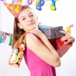 Birthday girl and gifts — Stock fotografie #5003801