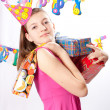 Birthday girl and gifts — Foto Stock