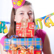 Birthday girl and gifts — Foto de stock #5003817