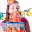 Birthday girl and gifts — Stock Photo #5003817