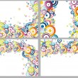 Rainbow circles backgrounds collection - Stok Vektr