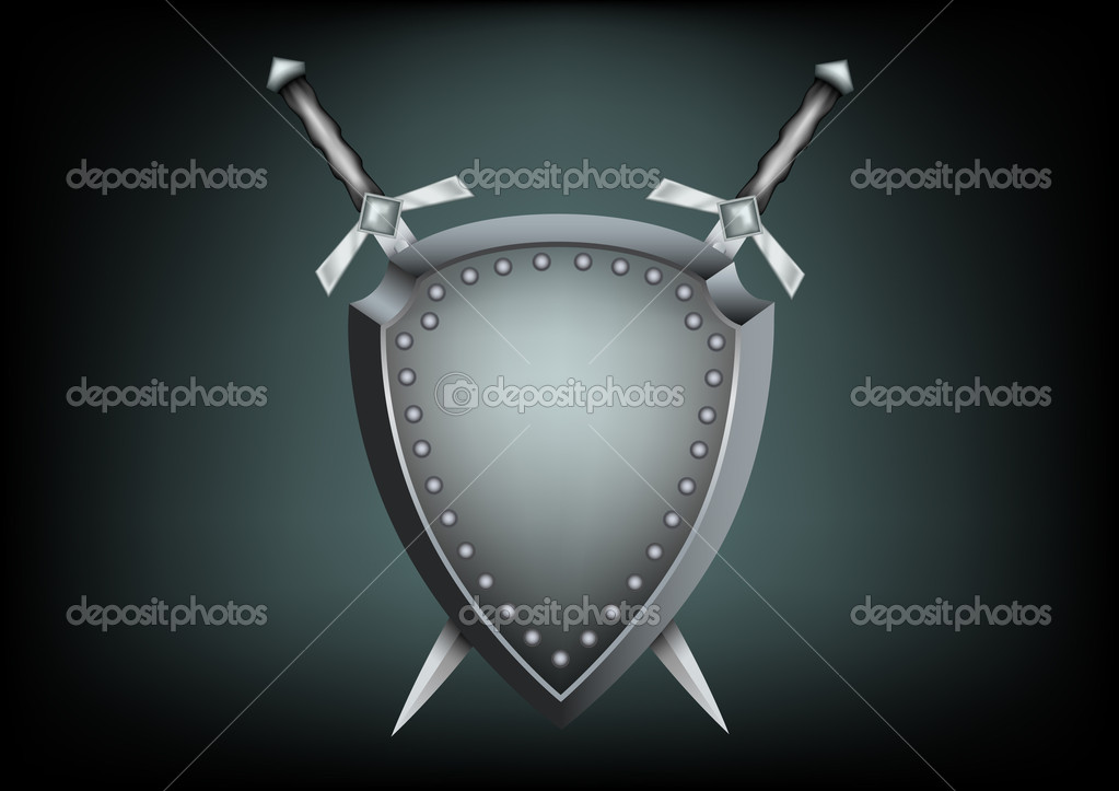 The safety shield and warrior swords on the dark background — Vettoriali Stock  #3945500