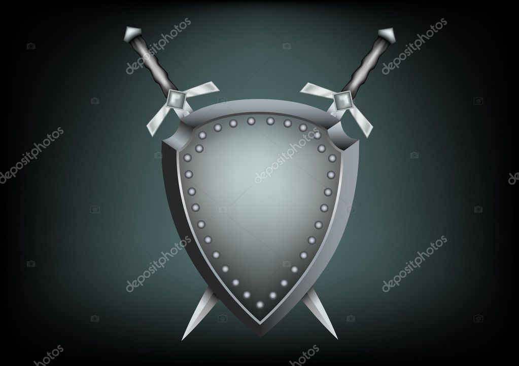 The safety shield and warrior swords on the dark background  Vektorgrafik #3945500