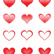 Stock Vector: Set of the beautiful hearts