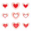 Set of the beautiful hearts2 — Stock Vector