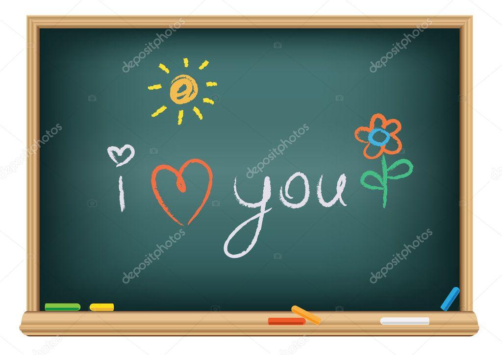 I Love You Imágenes De Stock I Love You Fotos De Stock: Dibujo I Love You De Una Tiza