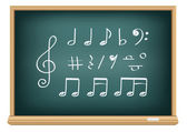 Drawing music notes by a chalk — Stock Vector