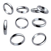 Collection of silver wedding rings isolated — Stock Photo