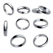 Collezione di anelli di nozze d'argento isolato — Foto Stock