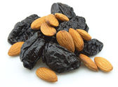 Prunes and almond — Stock Photo